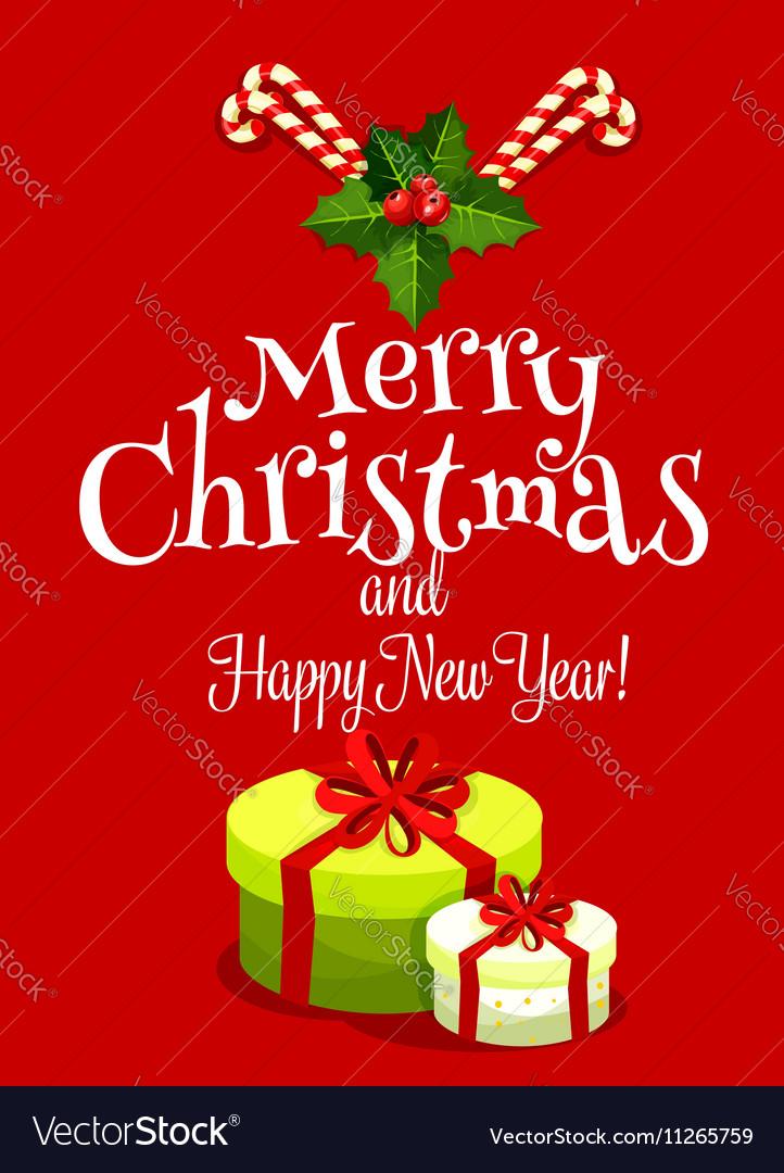 Christmas holiday card with gift box vector image