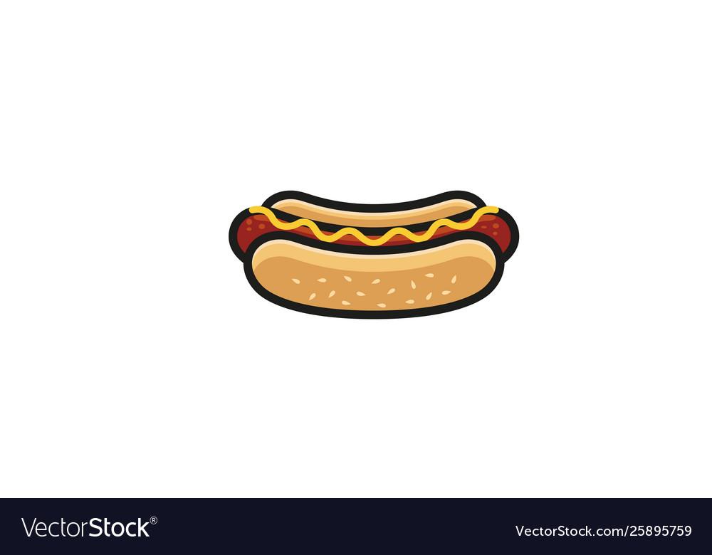 Creative delicious hotdog logo design symbol