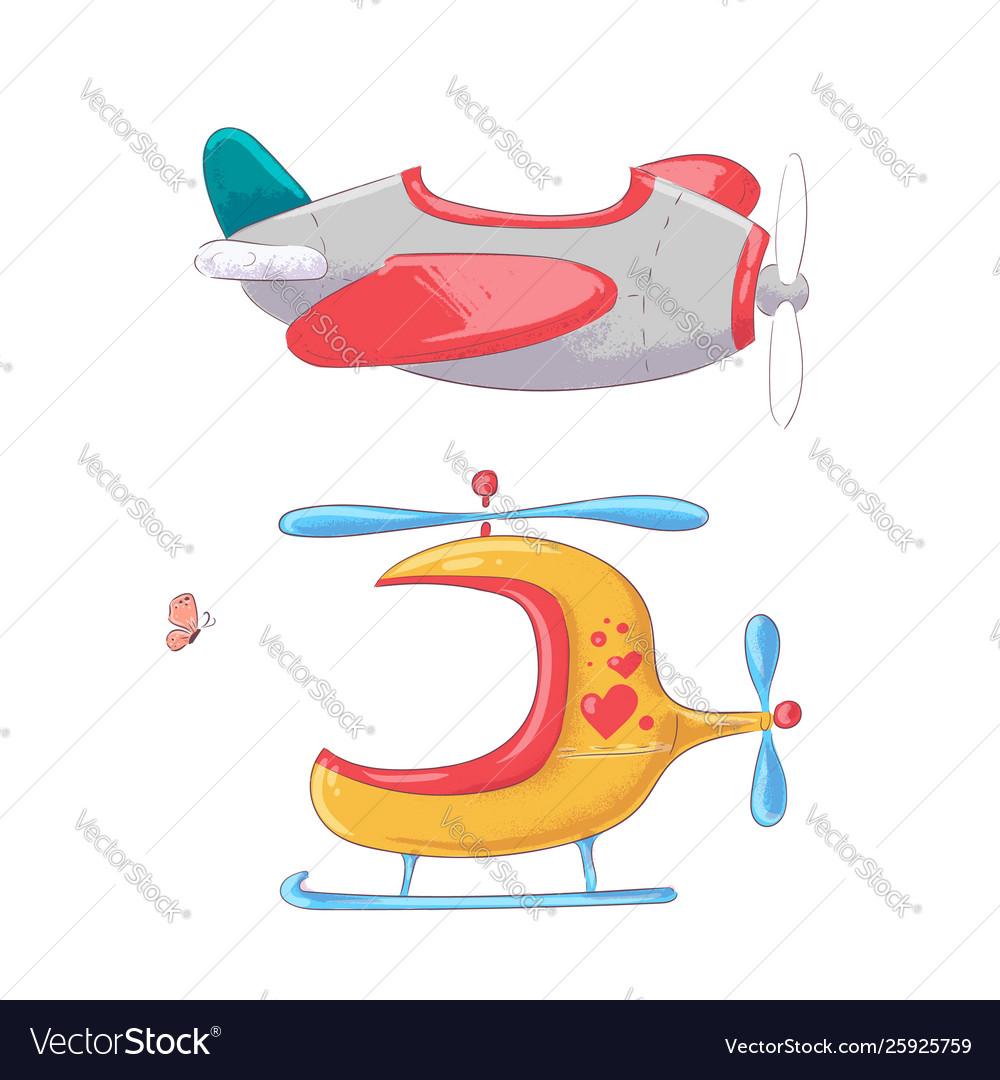 Cute cartoon set air transport
