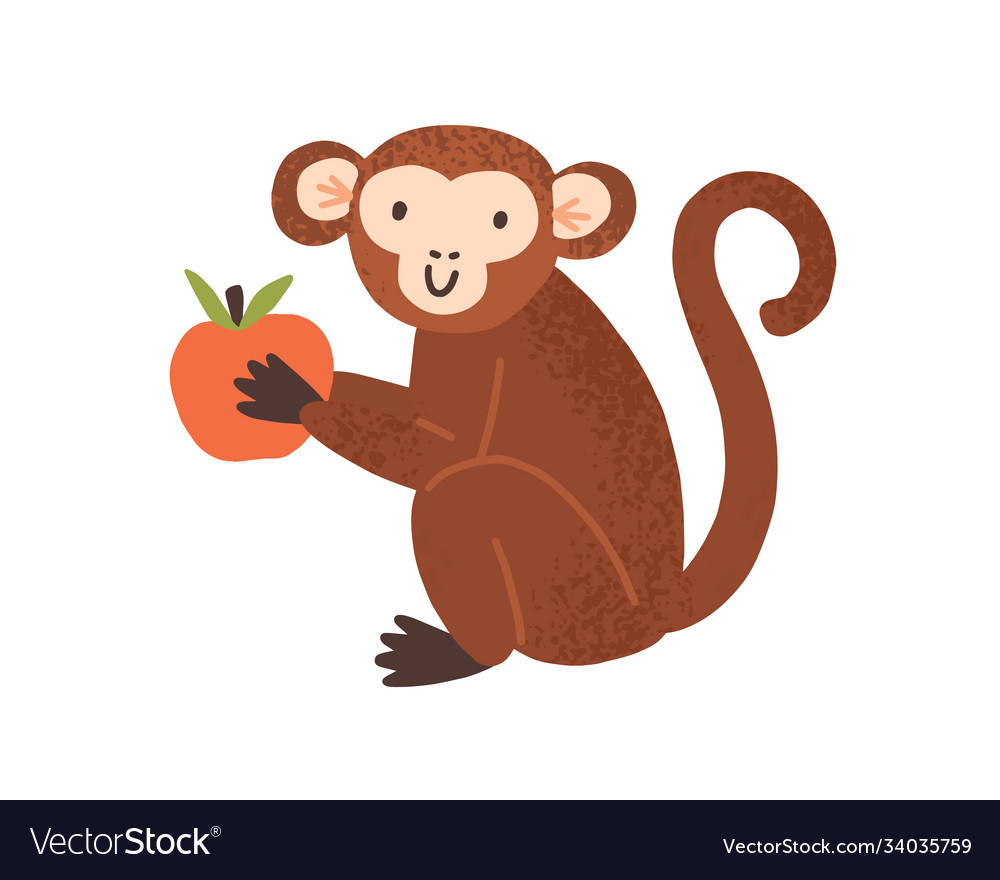Cute childish monkey sit and hold apple in little