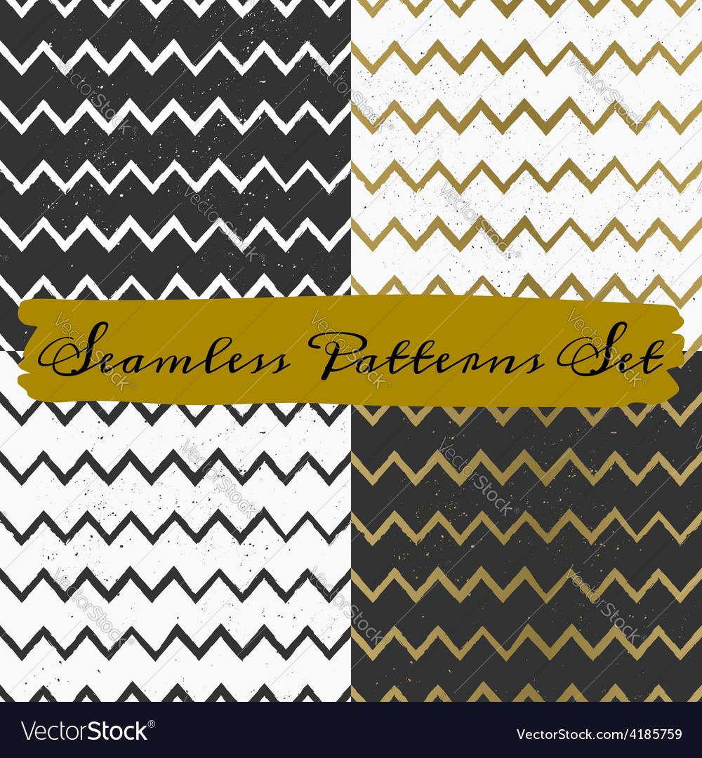 Gold black and white seamless chevron patterns set