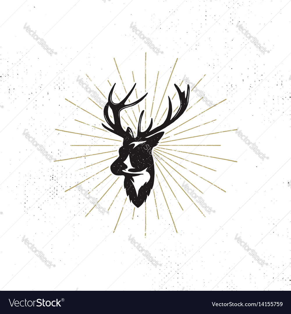 Hand drawn deer s head label vintage black