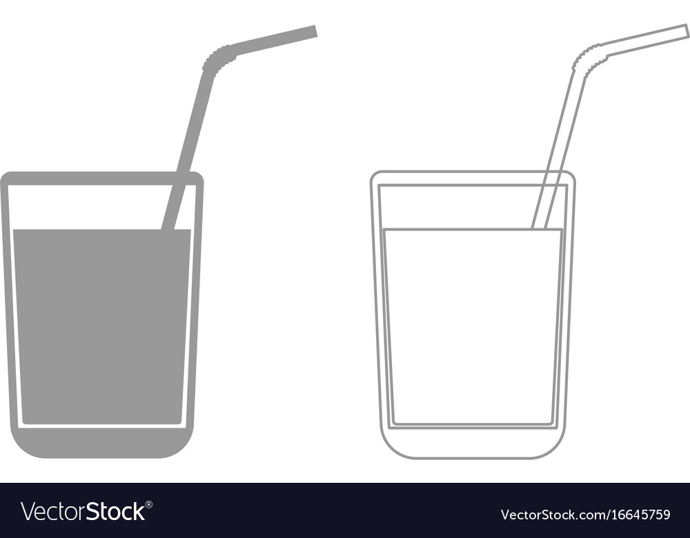 Juice glass with drinking straw grey set icon vector image