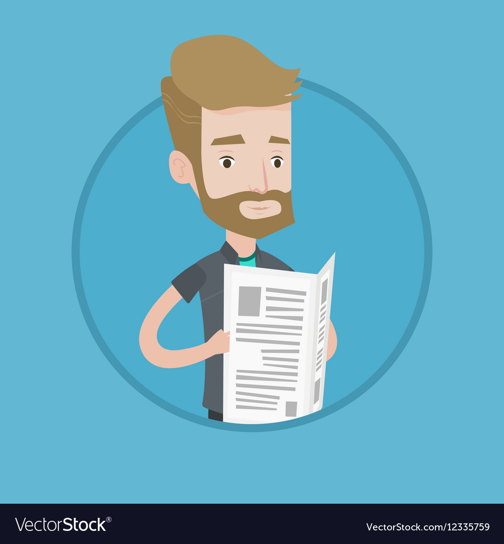 man reading newspaper royalty free vector image