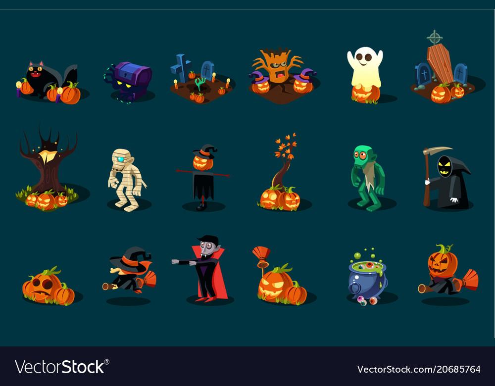 18 3d halloween icon set