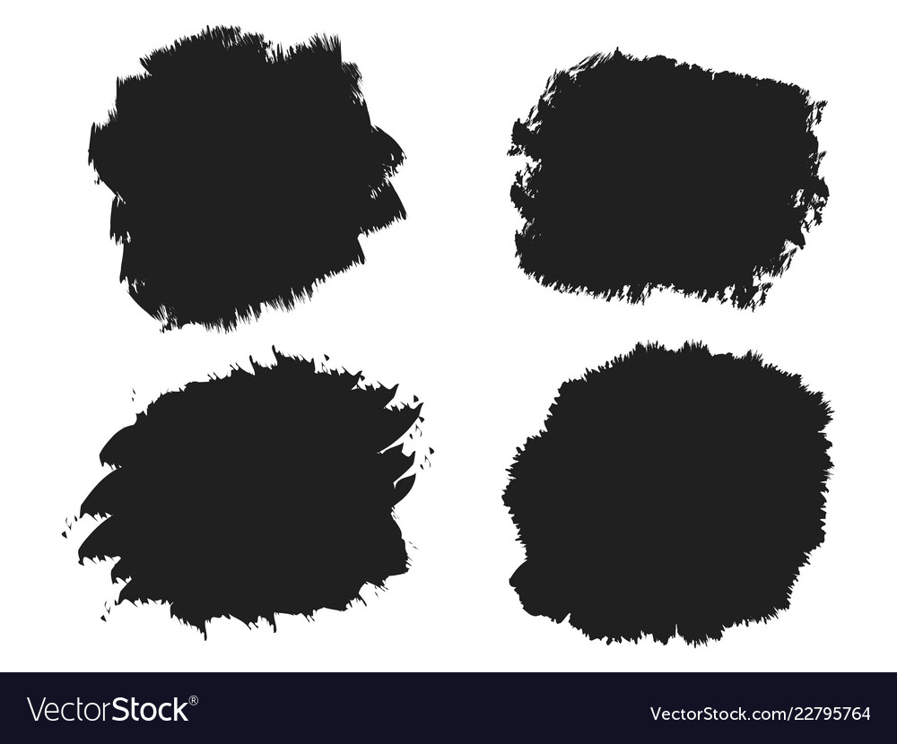 Black ink brush stainbrush strokes banners