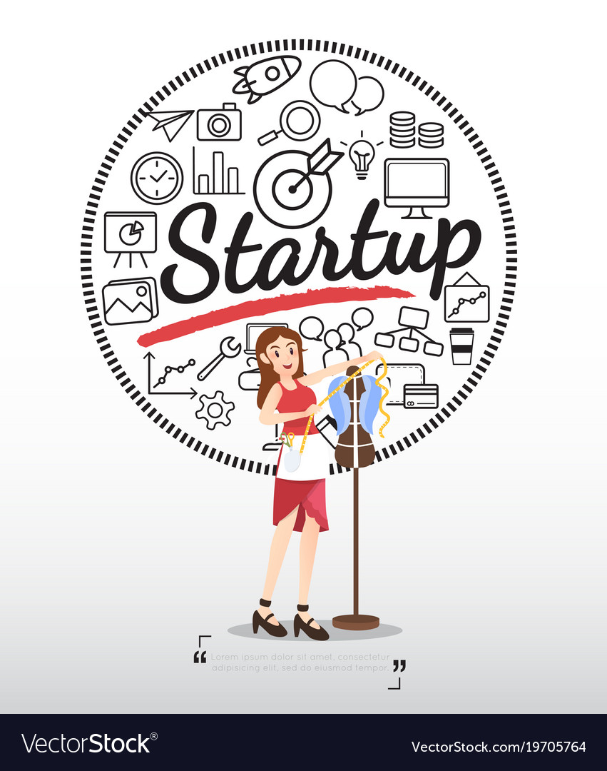 Designer character with startup icons on white