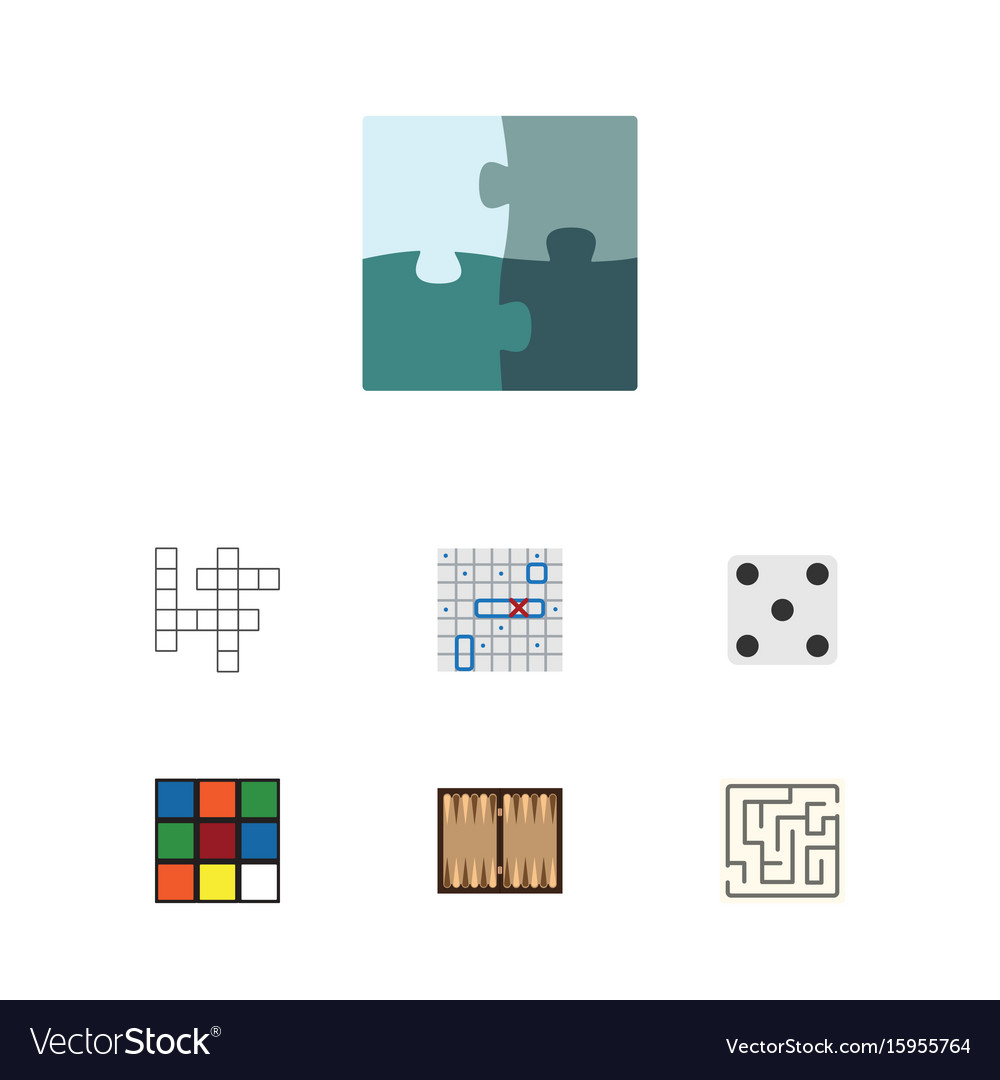 Flat icon entertainment set of backgammon cube