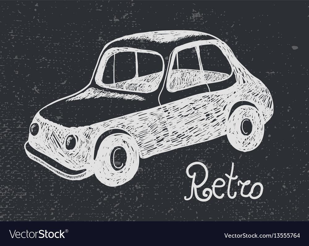 Hand drawn retro car card