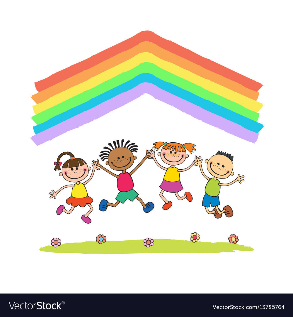 Kids jumping with joy on a hill under rainbow