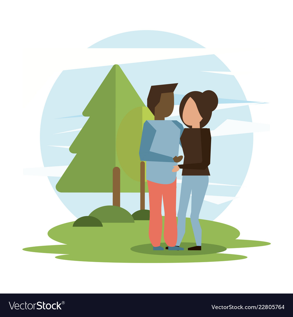 Man and woman interracial couple hugging Vector Image