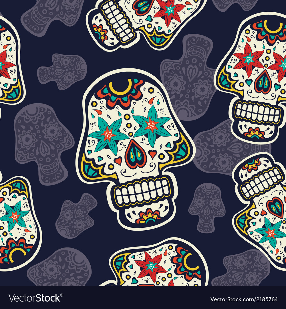 Pattern with sugar skulls vector image