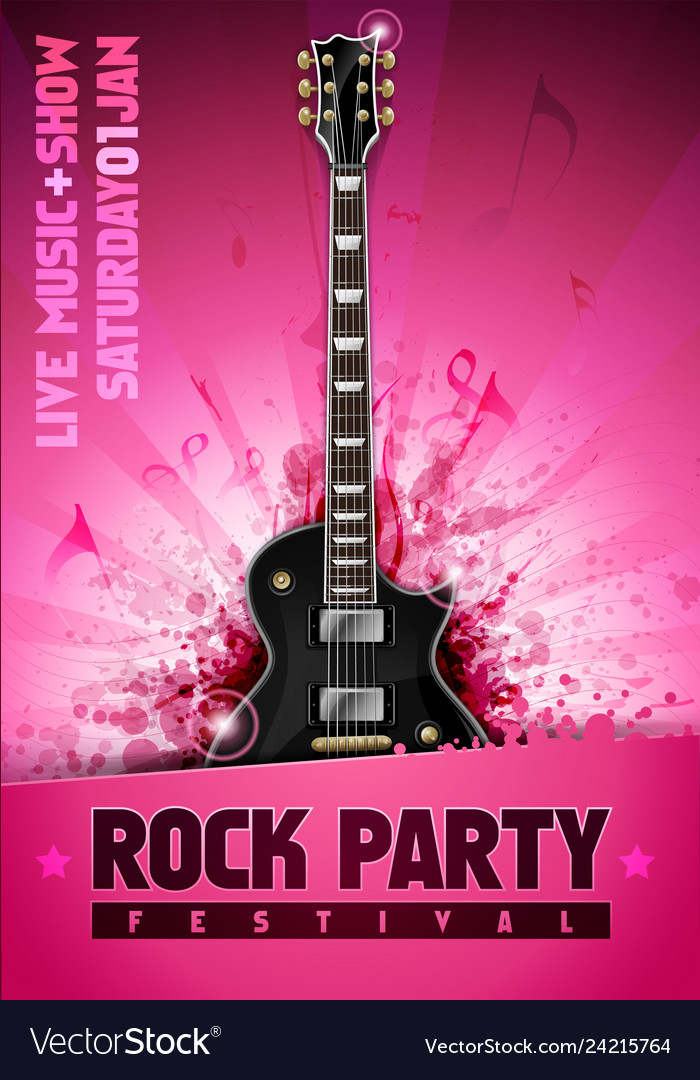 Pink rock festival concert party poster vector