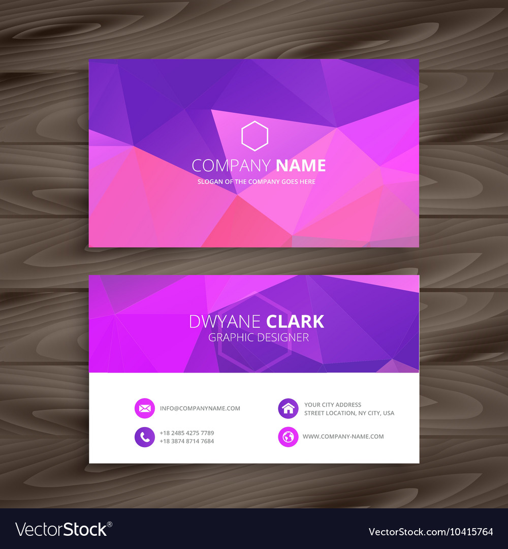 Purple business card with abstract shape Vector Image