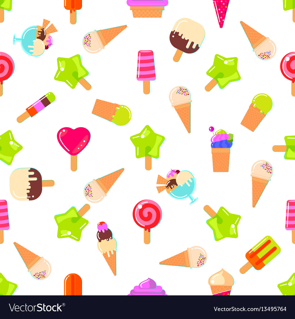 Seamless pattern with many sweets