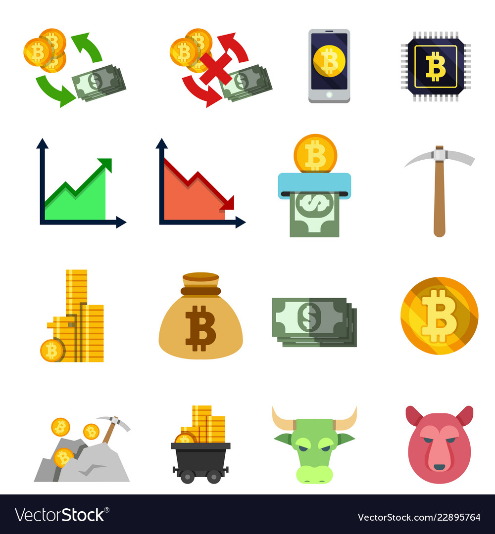 Set of twelve cripto currency flat icons