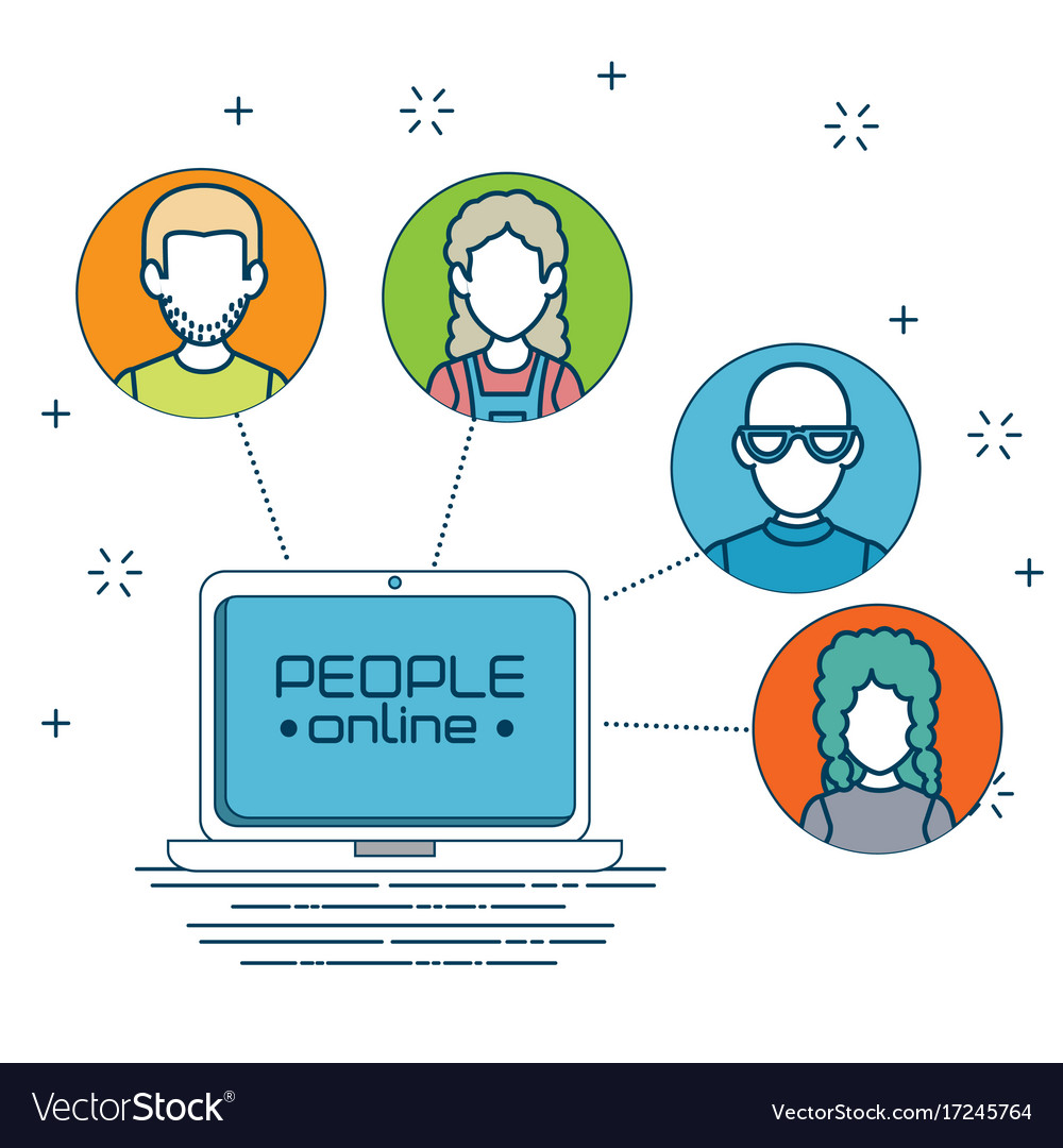 Social network connecting people online Royalty Free Vector
