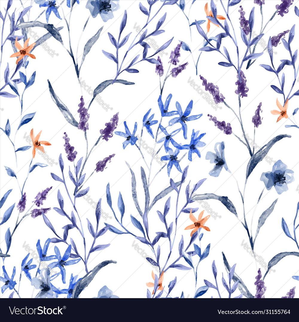 Vintage watercolor flower seamless pattern