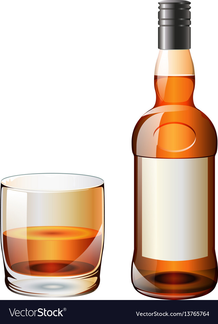 Whiskey-bottle-glass vector image