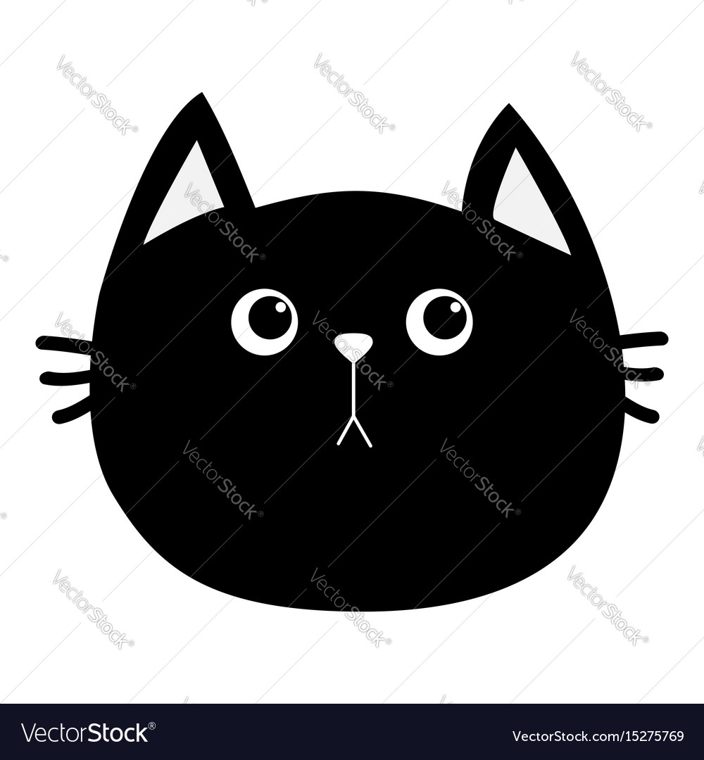 Black cat head icon cute funny cartoon character