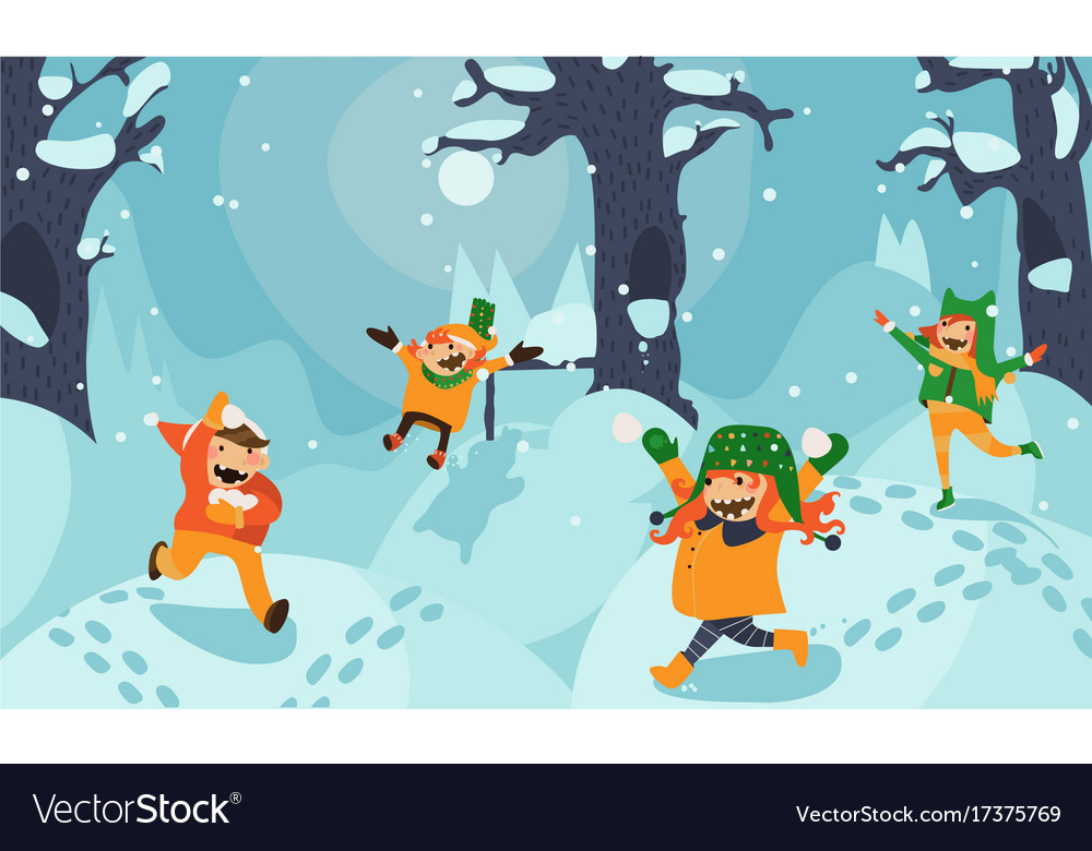 Bright with little kids playing vector image