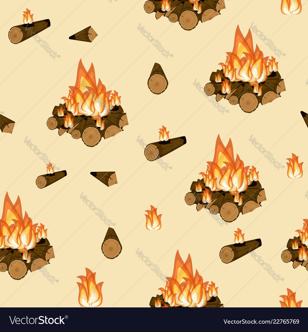 Campfire burning wood and flame seamless pattern