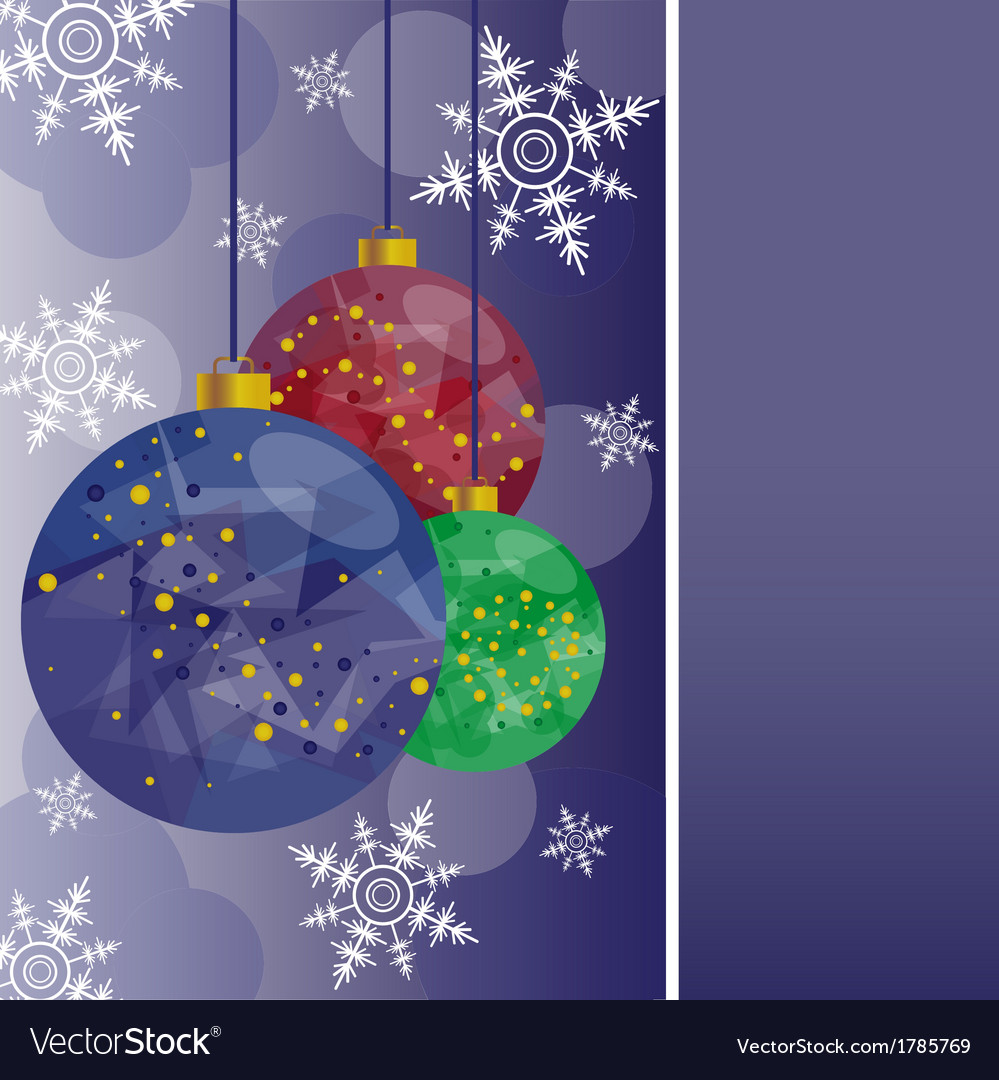 Christmas card with colored balls vector image