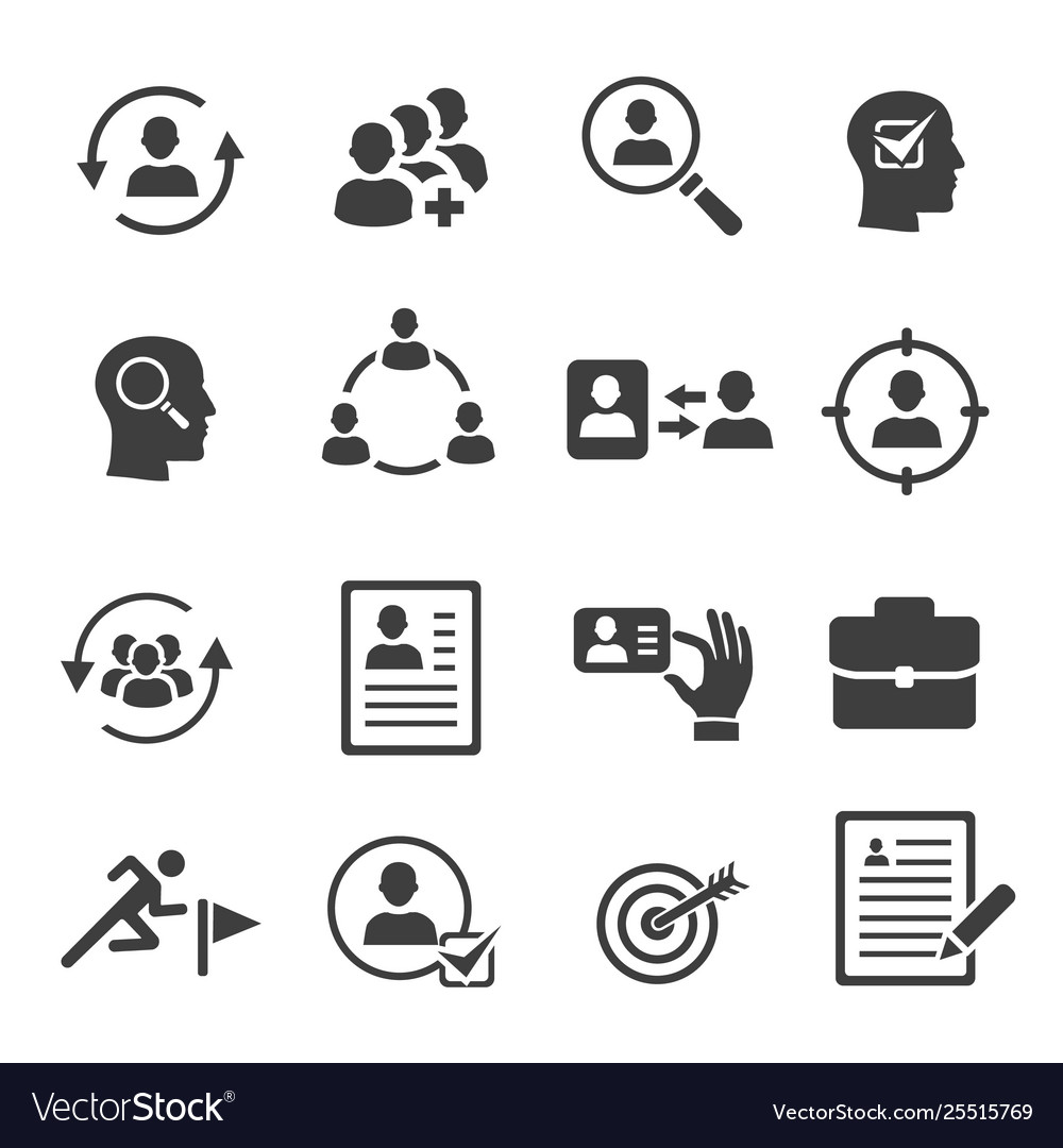 Headhunting icons set personnel selection