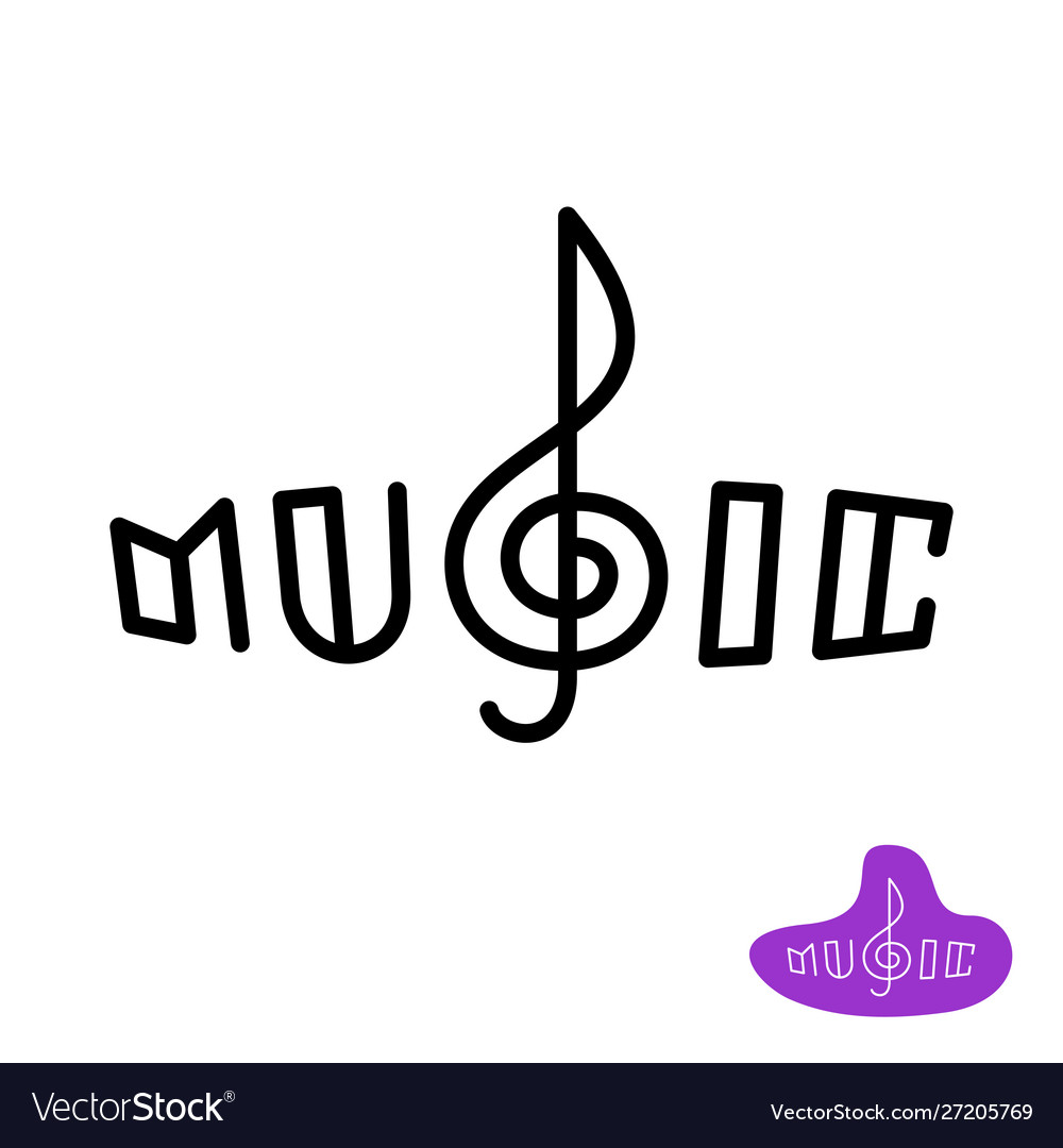 Music word logo with treble clef in a center