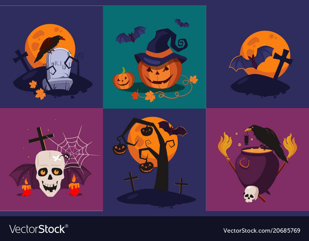 Set of halloween symbols raven on