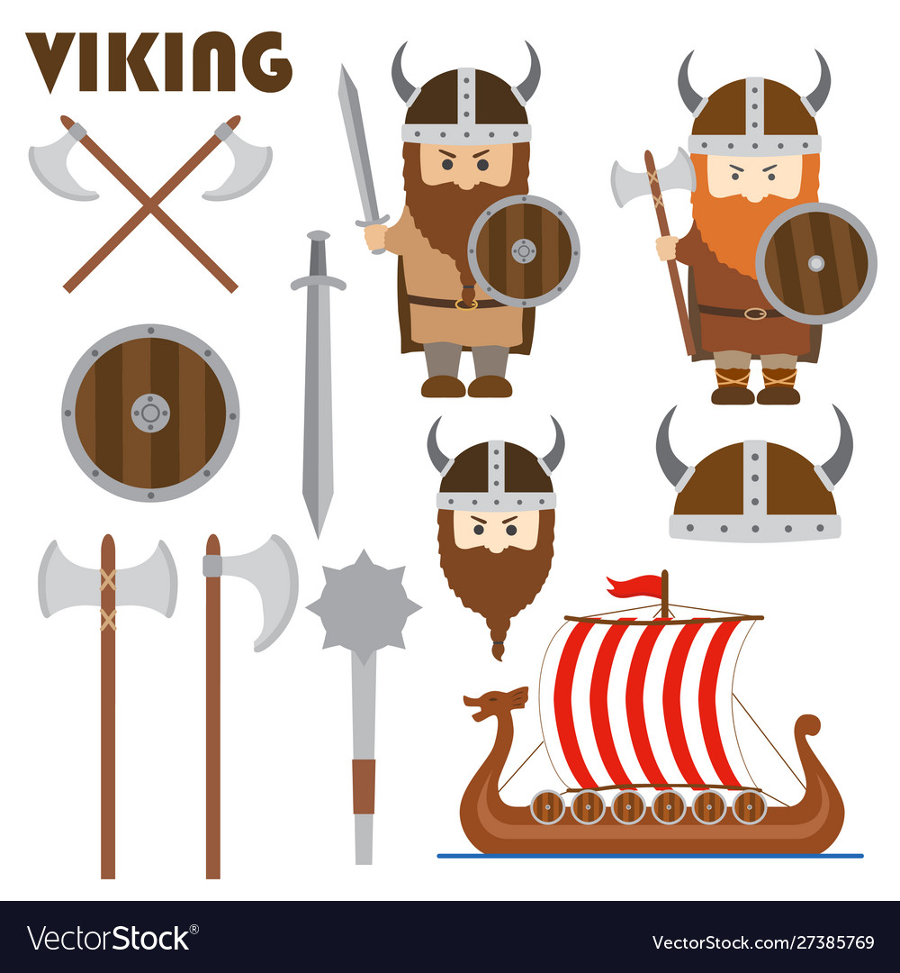 Viking set emblem horned helmet shield sword ship