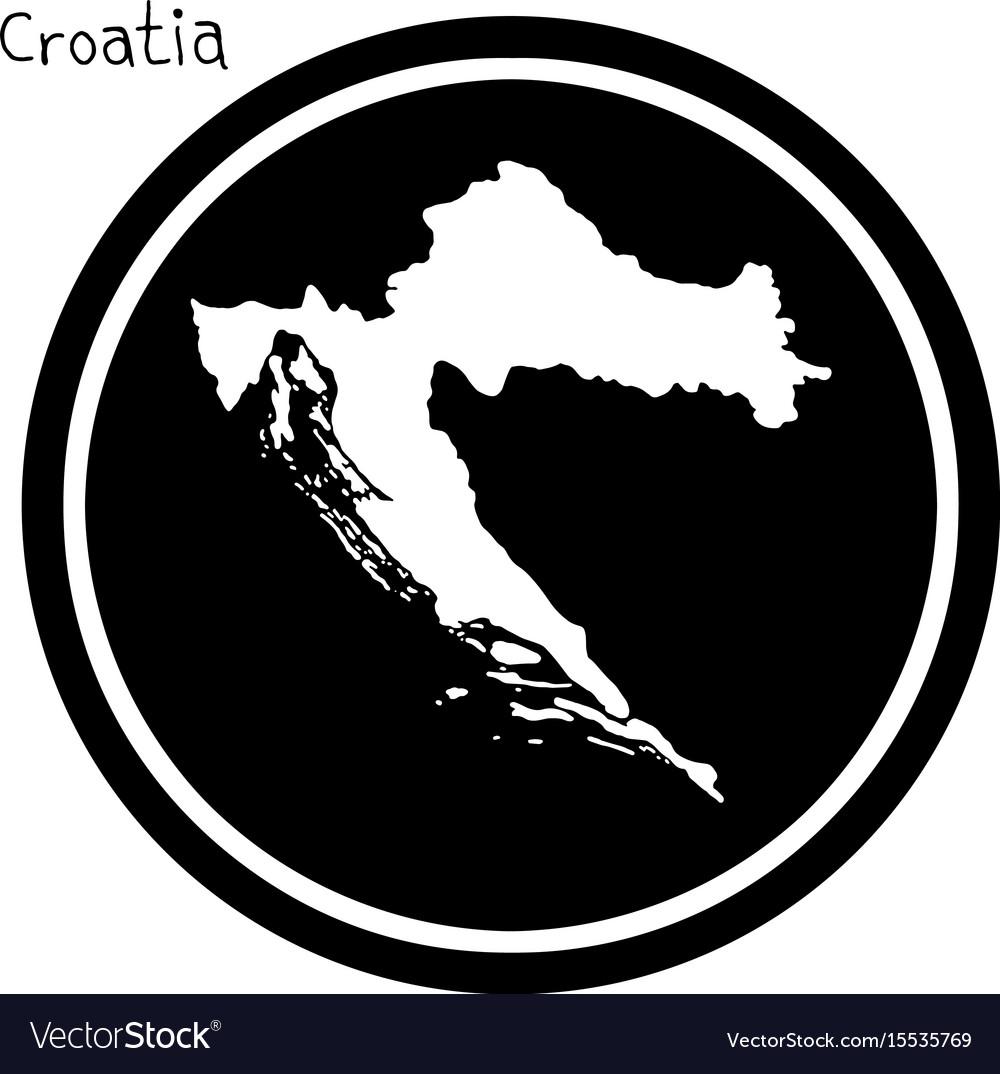 White map of croatia on black circle vector image