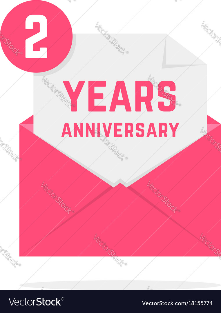 2 years anniversary icon in pink letter