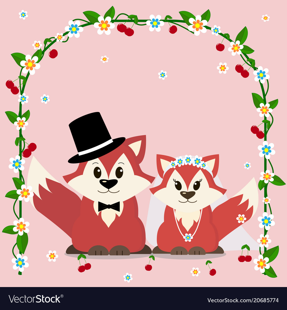 A fox marry in a cartoon style