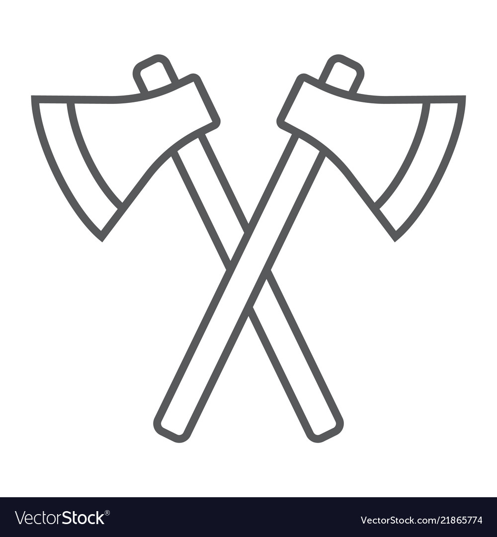 Axes thin line icon weapon hatchet crossed axes