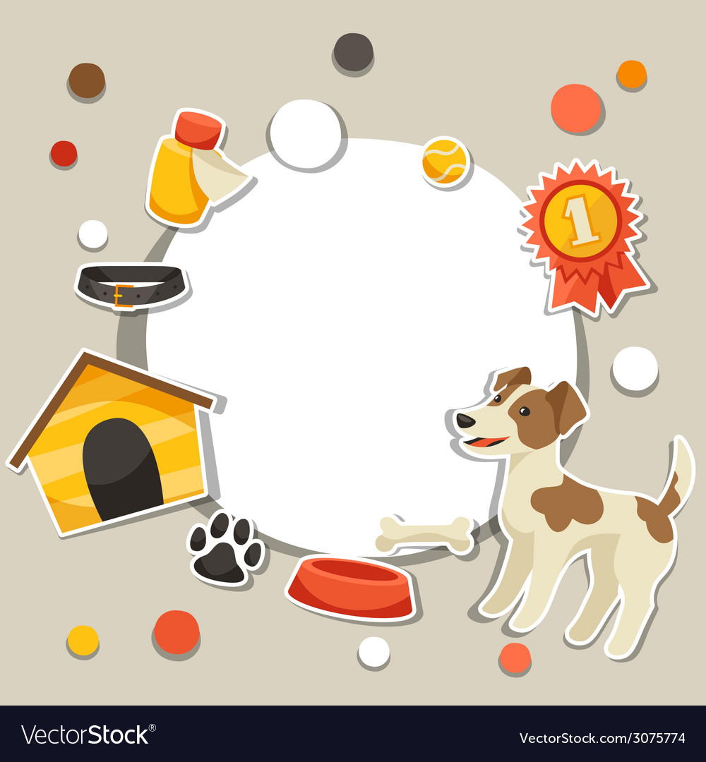Background with cute sticker dog icons and objects