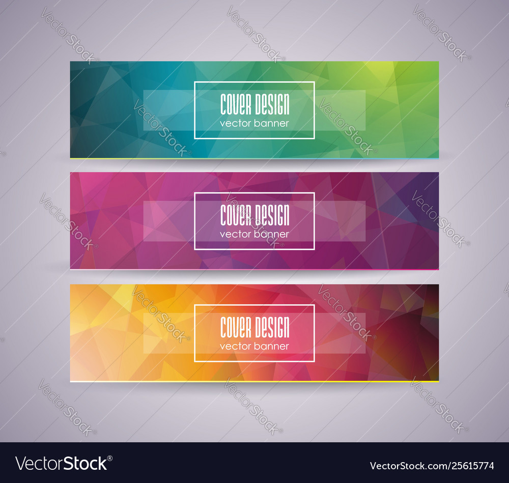 Bright banner set with abstract polygonal design