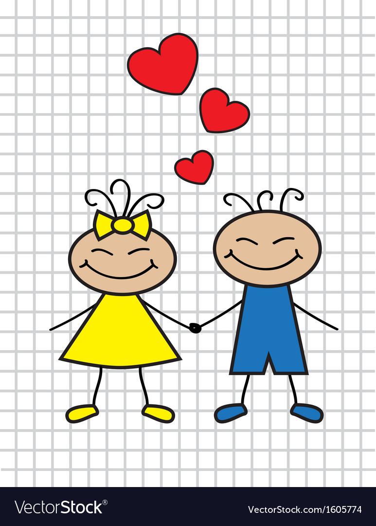 Cartoon children in love vector image