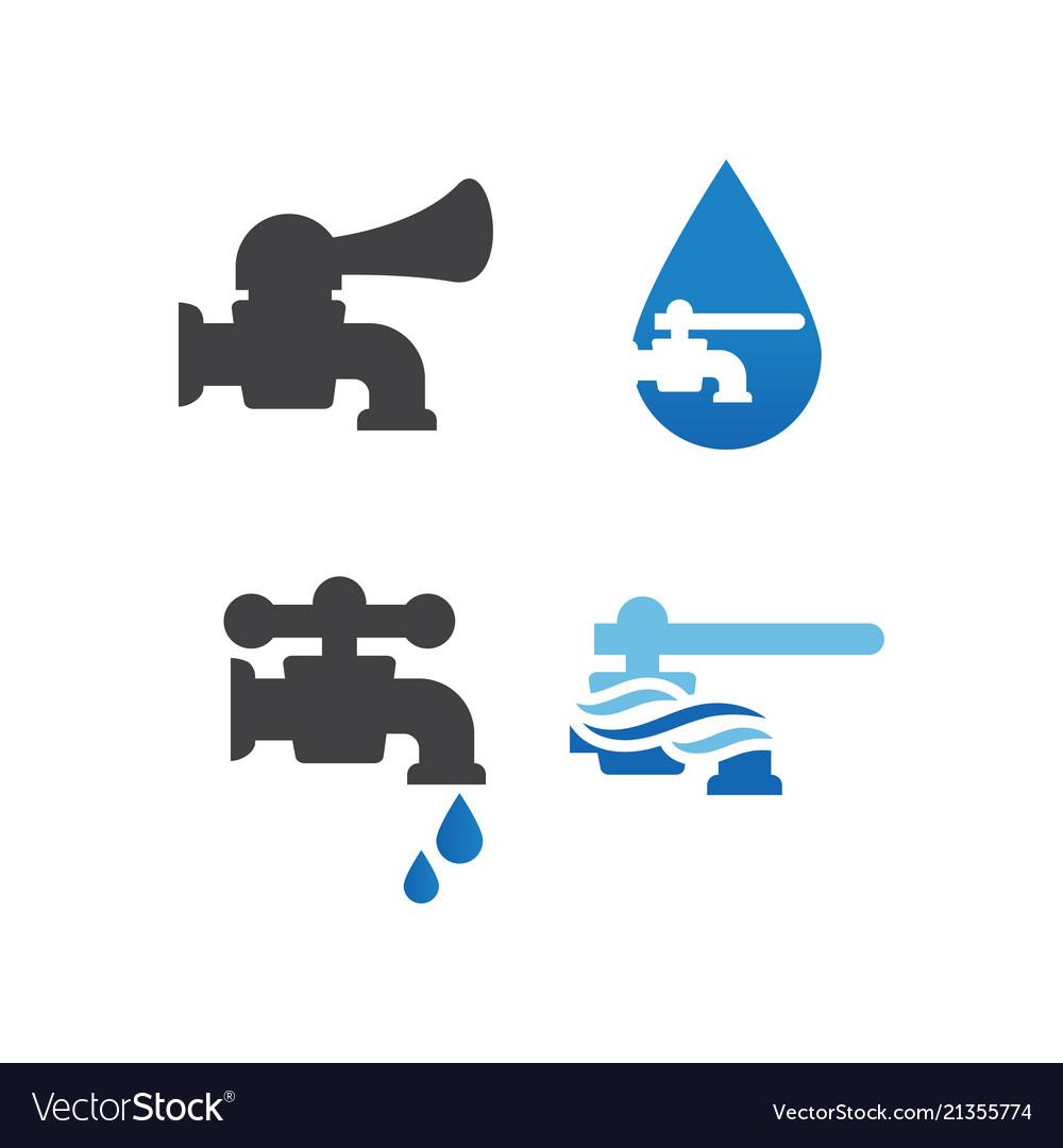 Faucet plumbing logo design template