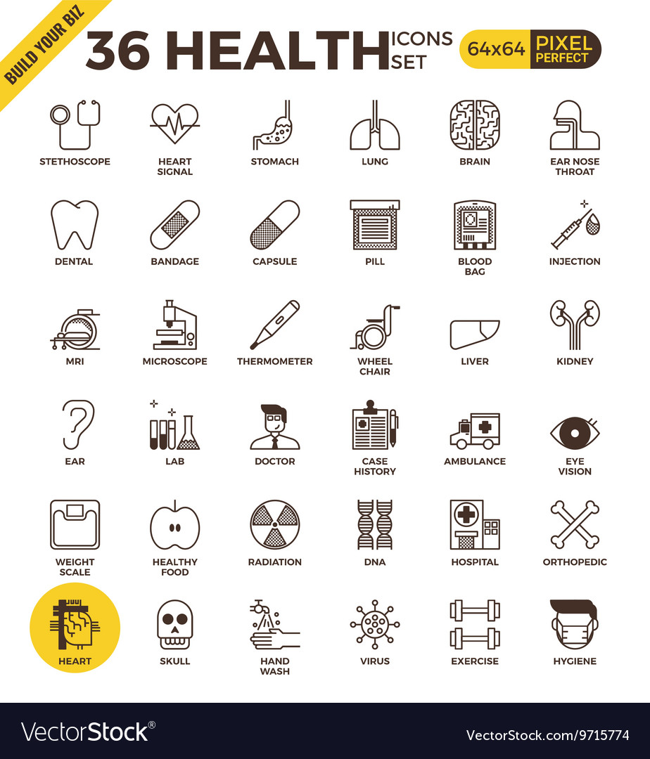 Health and medical pixel perfect outline icons