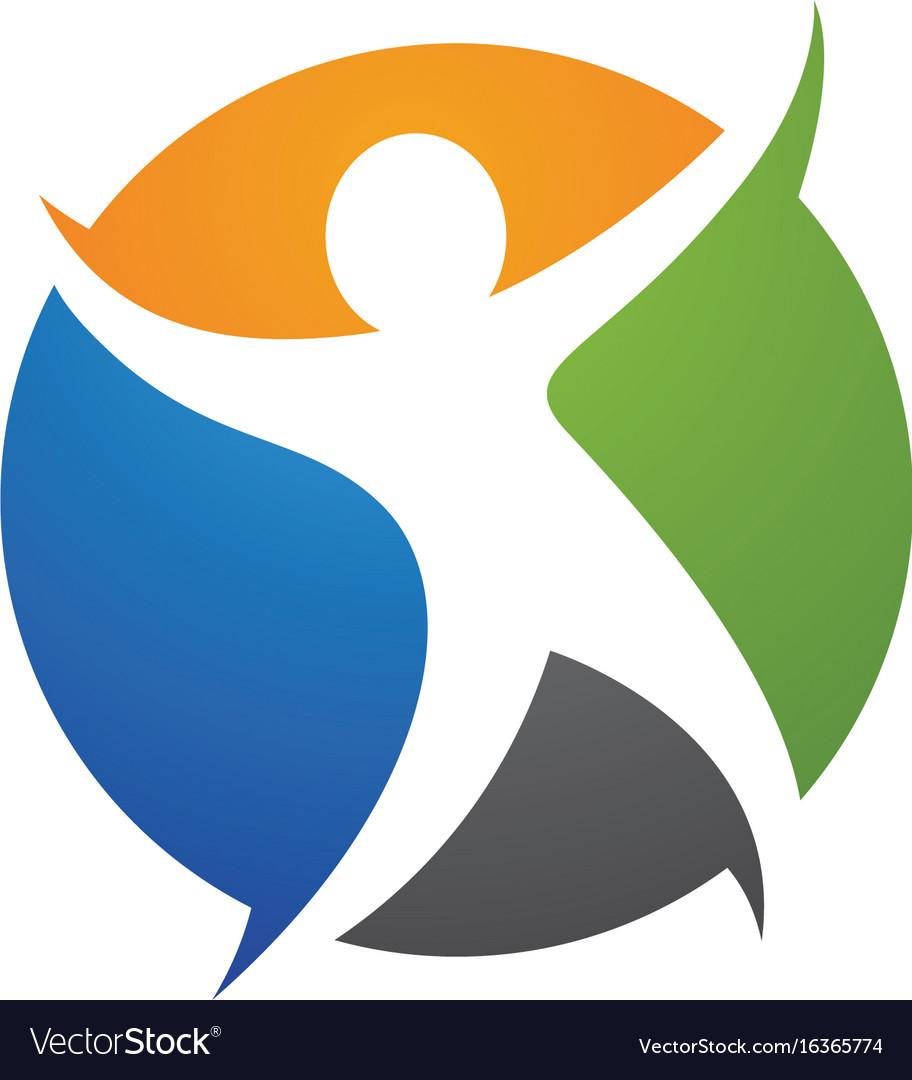 Human character logo sign health care logo sign vector image