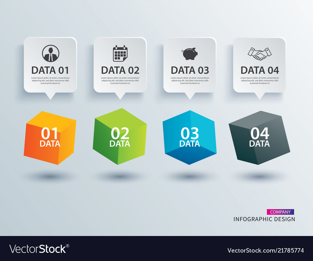 Infographics box square with 4 paper data