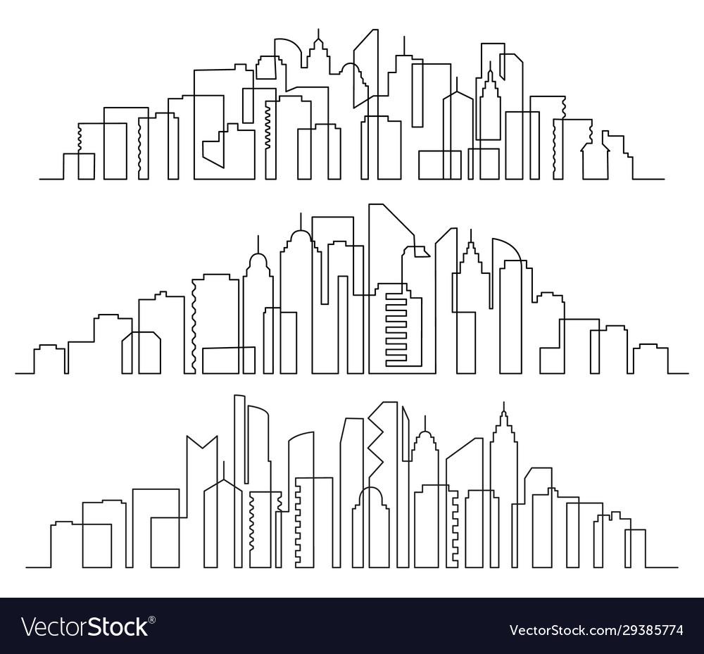 Line art cityscape town buildings horizontal