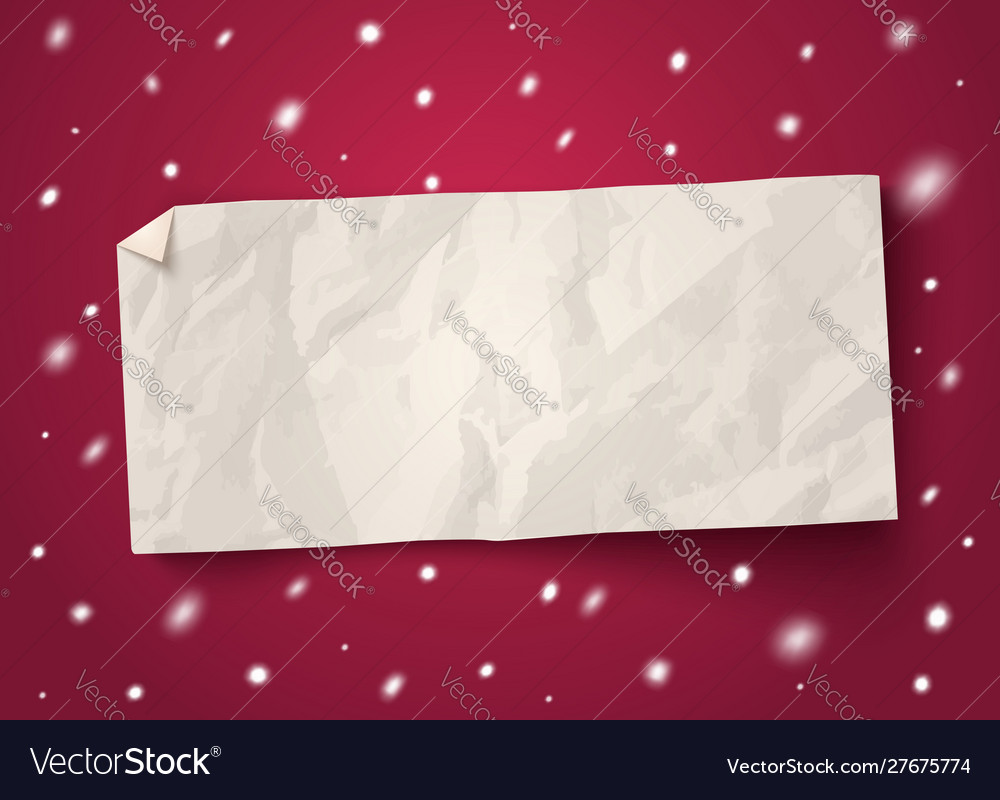 Paper banner with snow