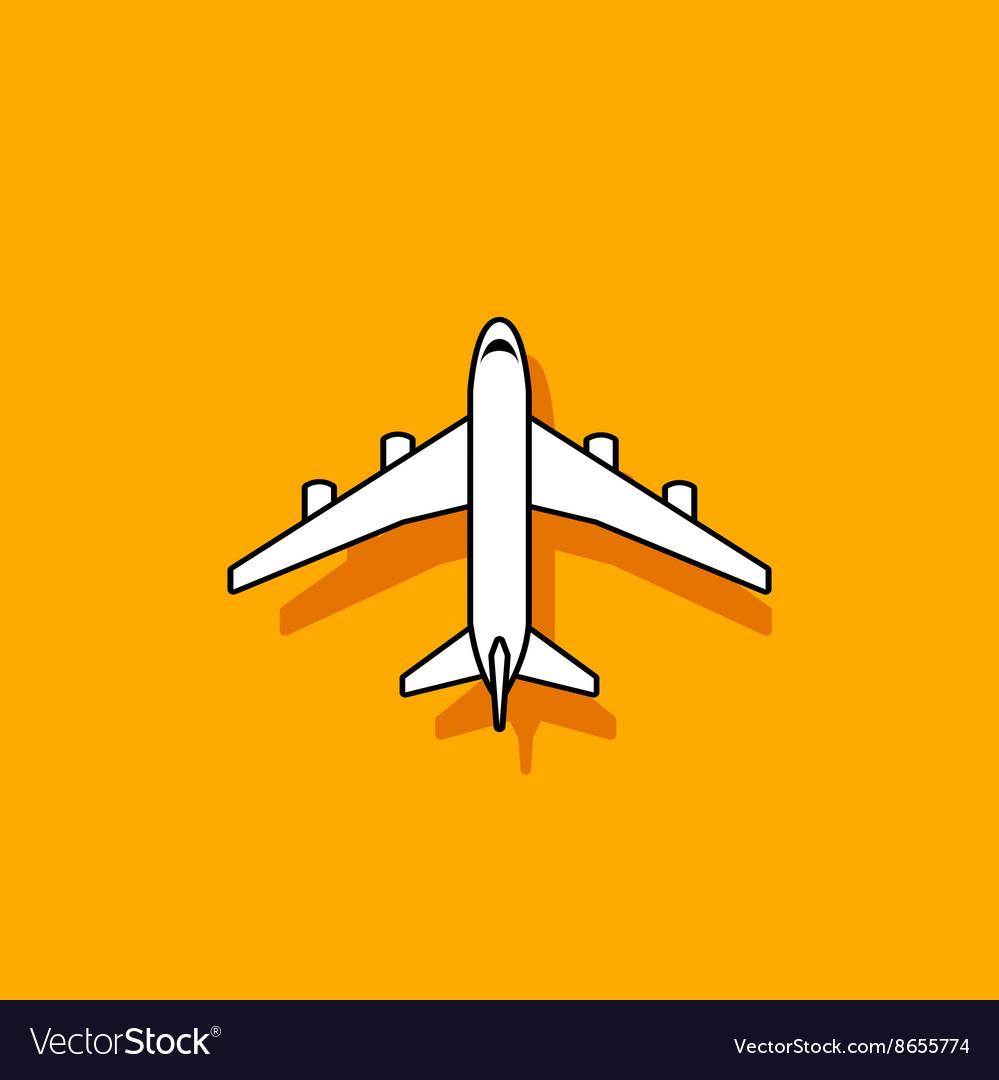 Plane icon flying on orange background