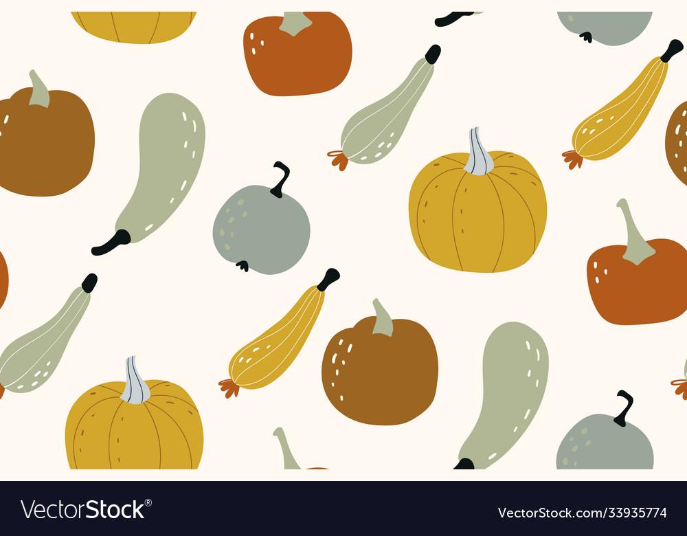 Pumpkin seamless pattern autumn texture for