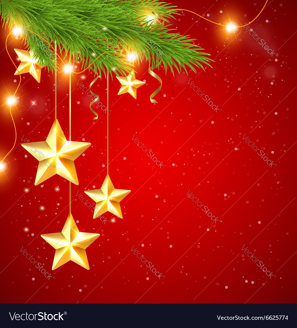 Red Christmas Background.Red Christmas Background With Shining Golden Stars