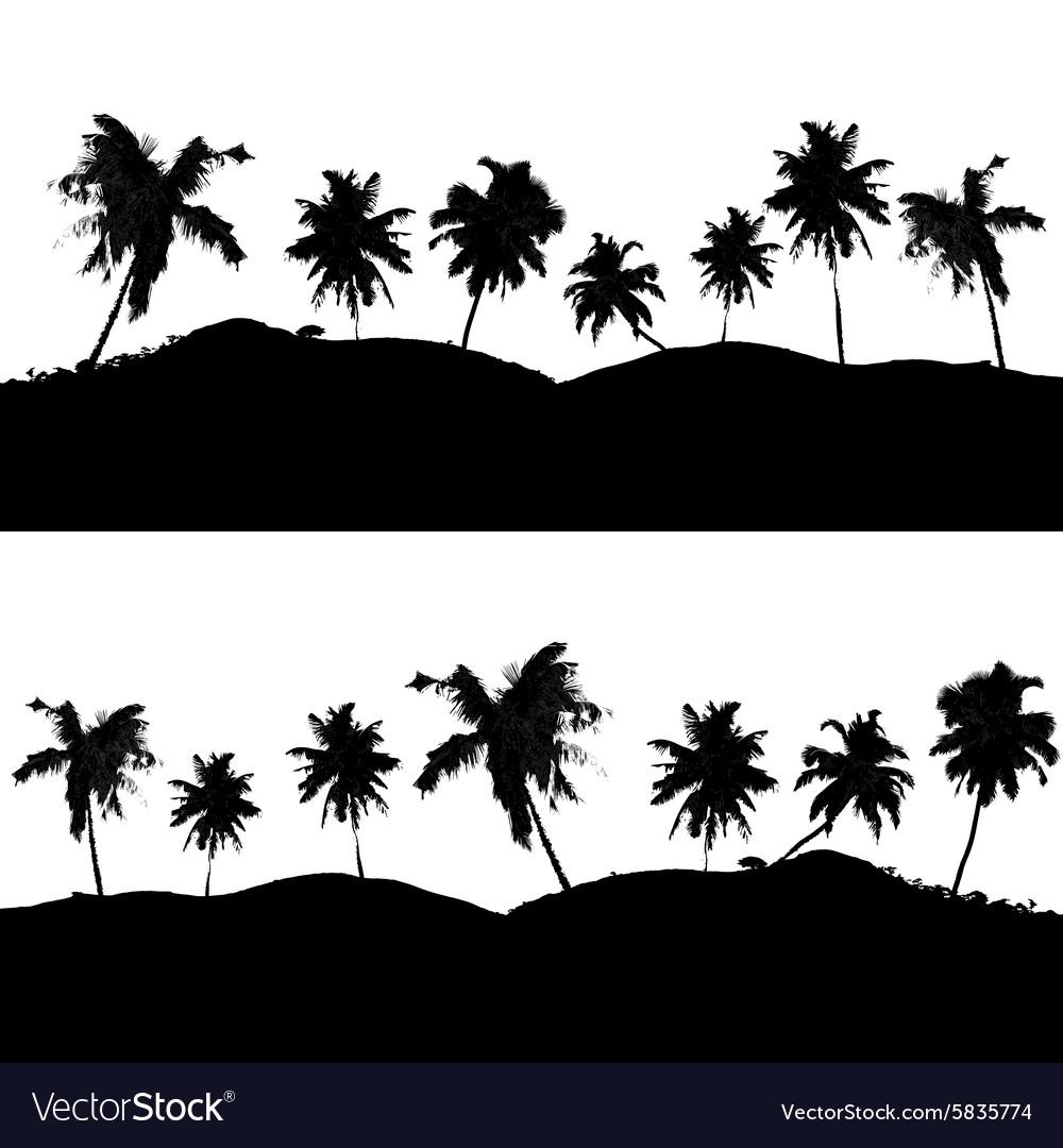 Various Tropical Palm Tree Landscape Black Symbols