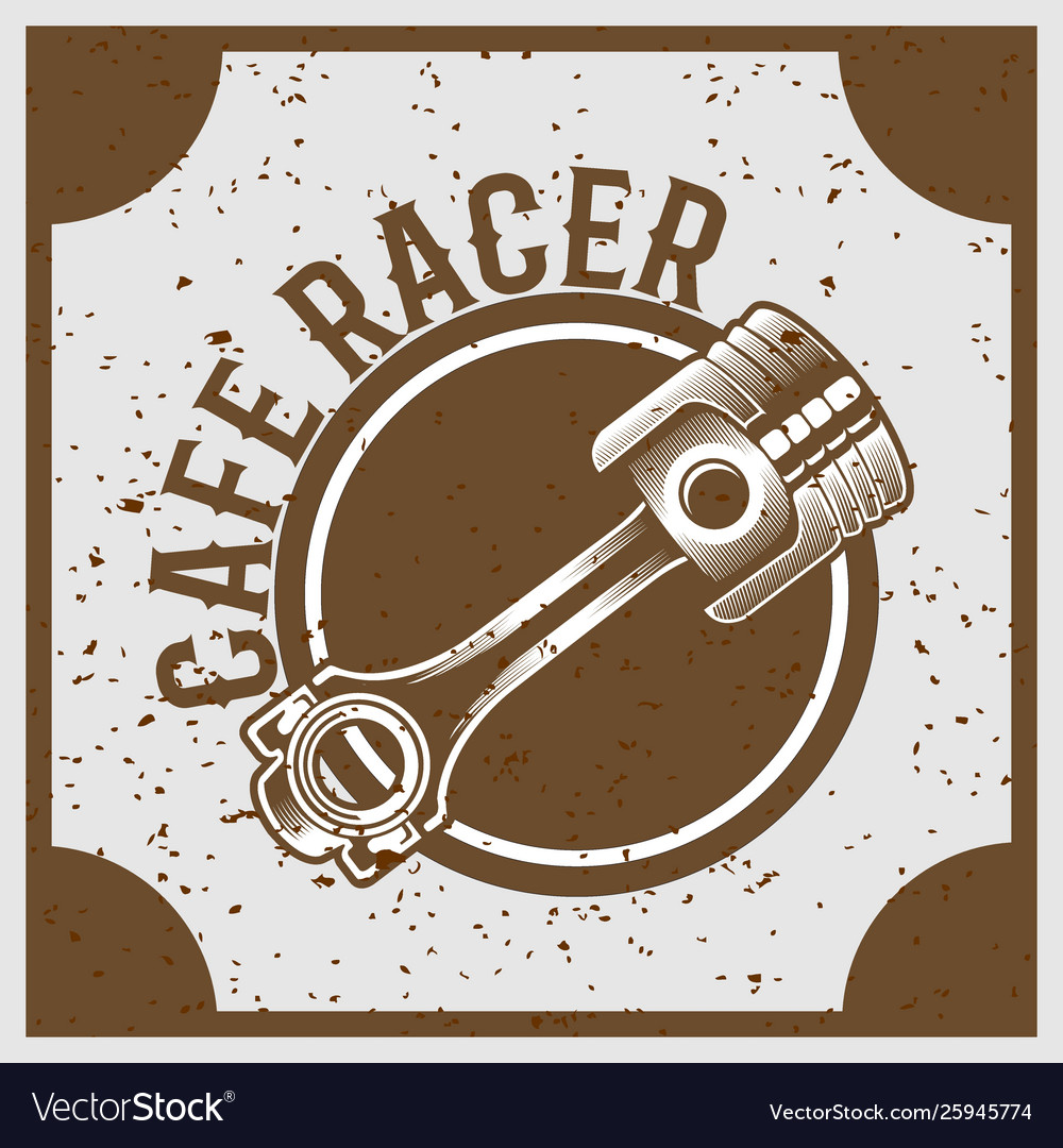 Vintage grunge style piston with text cafe racer