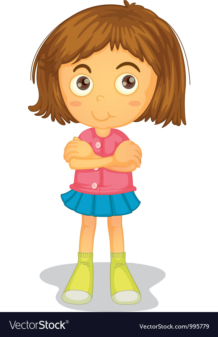 Arms Crossed Young Girl vector image